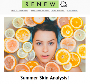 Preview of Summer Skin Analysis Newsletter
