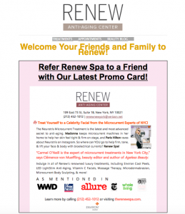 Preview of Renew Spa's Referral E-mail