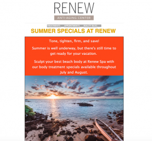 Preview to Summer Specials at Renew Newsletter